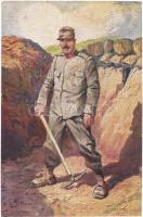 Genio Zappatori / WWI Italian military art postcard, sapper. 400-23. artist signed