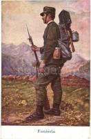 Fanteria / WWI Italian military infantry art postcard, artist signed