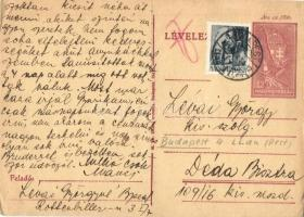 1944 Lévai Györgyné levele férjének Lévai György zsidó 109/16 KMSZ (közérdekű munkaszolgálatos) a dédabisztrai munkatáborba / WWII Letter to a Jewish labor serviceman from his wife to the labor camp of Bistra Muresului. Judaica (fa)