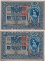 1902. 1000K (4x) sorszámkövetők, mindkét oldal német és DEUTSCHÖSTERREICH felülbélyegzéssekkel T:II,II-