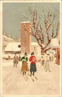 1916 Women skiing, winter sport. Vouga & Cie. No. A. 1. litho s: Pellegrini