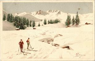 1916 Skiing, winter sport. Vouga & Cie. No. A. 14. litho s: Pellegrini (EK)