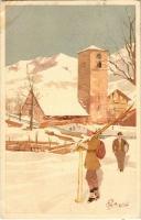 1916 Skiing, winter sport. Vouga & Cie. No. A. 2. litho s: Pellegrini