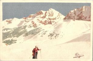 1916 Skiing, winter sport. Vouga & Cie. No. A. 16. litho s: Pellegrini (EK)