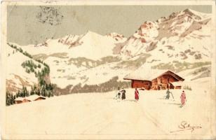1916 Skiing, winter sport. Vouga & Cie. No. A. 10. litho s: Pellegrini (EK)
