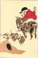 Hunter with hunting dogs. art postcard