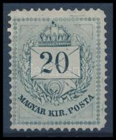 1874 20kr (290.000) (apró gumihiba / small gum disturbance)
