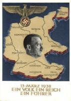 1938 Ein Volk, ein Reich, ein Führer! / Adolf Hitler, NSDAP German Nazi Party propaganda, map, swastika; 6 Ga. + 1938 Am 10. April dem Führer Dein Ja So. Stpl. (EK)
