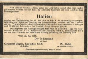 1915 Italien Todbericht / Itália gúny gyászjelentés, propaganda lap / WWI Austro-Hungarian mock-obituary of Italy (EK)