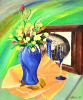 Blaskó Zoltán (?-): Virágcsendélet. Olaj, farost, jelzett, keretben, 53×44 cm
