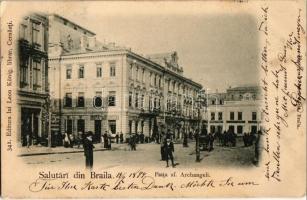 1899 Braila, Piata sf. Archangeli, Cromo Splendida / square with shops (EK)
