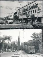 cca 1985 Budapesti villamosok, 11 db vintage fotó, többsége datált, 9x14 cm és 13x18 cm között +   cca 1942 és 1965 Budapesti villamosok, 3 db vintage negatívról készült mai nagyítás, 24x18 cm