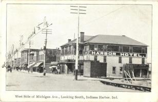 1908 Indiana Harbor, East Chicago, Indiana; West Side of Michigan Ave., Looking South, Harbor Hotel, Ice Cream Parlor (EK)
