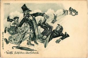 Gruss aus Wölfe Schlitten überfallend. Regel & Krug Leipzig No. 3009. / Wolves attacked by sleighs in winter. Jewish men falling. Judaica mocking art postcard (EK)