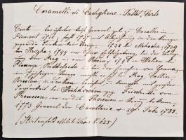 1786 Karlstadt graf Karl von Caramelli tábornok saját kézzel aláírt levele háborús ügyben / Autograph signed letter of Count Karl von Caramelli participant of 7 year war + a document of his life.