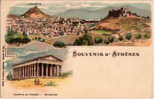 1899 (Vorläufer!) Athens, Athénes; Lycadete, Temple De Thesée. Pallis & Cotzias litho