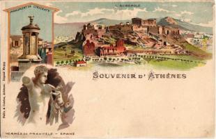 1899 (Vorläufer!) Athens, Athénes; Monument de Lysicrate, Hermmés de Praxitéle, LAcropole. Pallis & Cotzias litho