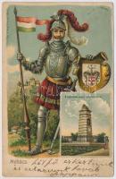 1904 Mohács, II. Lajos király szobra a Csele pataknál. Dombornyomott címeres és zászlós litho, kiadja Weiser Miksa (kicsit ázott / small wet damage)