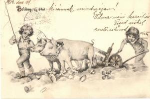1903 Boldog újévet! / New Year greeting with pigs, clovers, gold. litho (fl)