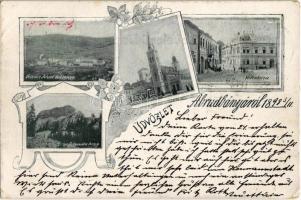 1898 Abrudbánya, Abrud; Ferenc József laktanya, Detonáta hegy, A három magyar templom, városháza / military barracks, Three Hungarian churches, town hall, mountain. Art Nouveau, floral