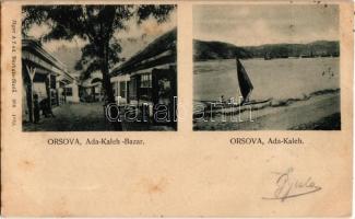 1902 Ada Kaleh, Orsova; török bazár, vitorlás csónak. Jäger Alfréd kiadása / Turkish bazaar shop, sailing boat (fl)
