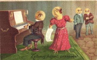Kellemes Húsvéti Ünnepeket! / Easter greeting, singing chicken with pianist chicken. litho (EK)