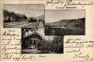 1906 Pelsőc, Plesivec; Vasútállomás vonattal, I. és II étterem. Sajó Vidék kiadása / Bahnhof / railway station with train and restaurant (EK)