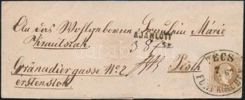 1867 15kr levélen / on cover PÉCS / FÜNFKIRCHEN