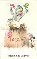 Boldog Újévet! / New Year greeting card with child, clovers, mushrooms, money bag (EK)