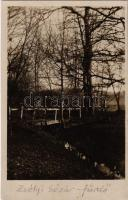 1934 Zsély, Zelovce; Sósárfürdő, park, híd. G. Jilovsky kiadása / Sosárske Lázne. Ciastka parku / spa, park, bridge