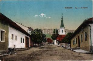 1928 Svedlér, Svedlár; Ágostai evangélikus templom, utca / street, church (EK)