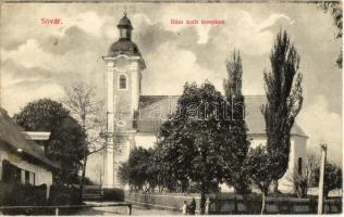Tótsóvár, Sóvár, Solivar; templom. Schulhoff Mór kiadása / church (ragasztónyom / gluemark)