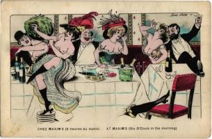 Chez Maxims (6 heures du matin) / At Maxims (six oclock in the morning). French gently erotic art postcard s: Xavier Sager
