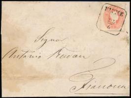 """1861 5kr on cover, 1861 5kr levélen """"FIUME"""" - Fianona"""