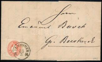 "5kr centered on cover, 1862 Centrált 5kr levélen ""TEMESVÁR B.H."" - Gr. Becskerek"