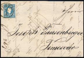 "1858 15kr I on cover, 1858 15kr I levélen ""PESTH"" - ""TEMESVÁR"""