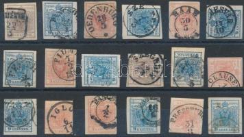18 stamps with nice cancellations, 1850 18 db bélyeg szép / olvasható bélyegzésekkel