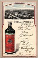 Budapest XI. Saxlehner András Hunyadi János keserűvíz üzeme, reklám; Bruchsteiner és fia litho