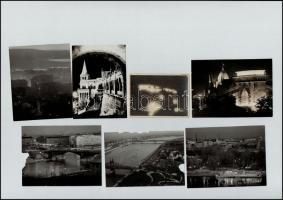 Budapest fényei, alkonyati, esti és éjszakai felvételek, cca 1930 és 1980 között készült 7 db vintage fotó és 10 db vintage negatív, 24x36 mm és 9x12 cm között
