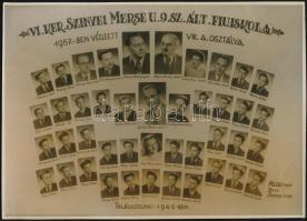 1957 Budapest, VI. ker., Szinyei Merse utcai Fiúiskola tanárai és végzett növendékei, kistabló nevesített portrékkal, 16,5x23 cm