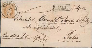 1870 15kr ajánlott levélen / on registered cover VERPELÉT - Pest