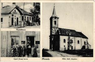 1941 Kocsola, Római katolikus templom, vasútállomás, Eppel József üzlete, kerékpár