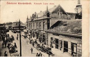 1910 Kisvárda, Kossuth Lajos utca, Fleischman Izrael, Fülöp Farkas és fia üzlete, piac árusokkal
