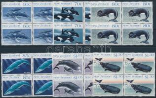 1988 Bálnák sor négyestömbökben, Whales set in blocks of 4 Mi 1056-1061