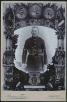 cca 1896-1900 Katonaemlék a szolgálati időről, fotómontázs, keményhátú fotó, Rasem és Társa budapesti műterméből, 16×10 cm