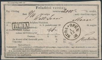 1868 Feladási vevény / Aufgabs Recepisse BUDA / OFEN