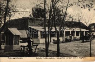 1931 Drávaszabolcs, Zsinsko halász csárda, Halpaprikás minden időben kapható. Bosnyák András kiadása
