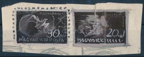 ~1943 Konecsni György Repülő alap 2 db bélyegterv vázlat / 2 essays