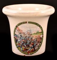 cca 1916 harci jelenetes porcelán hadimozsár, matricás, jelzés nélkül, apró csorbákkal, törő nélkül, m:12,5 cm, d:14 cm