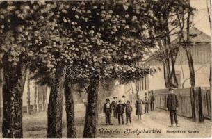 1915 Bustyaháza, Handalbustyaháza, Bushtyno, Bustino; Sétatér. Glück Mayer kiadása / promenade + K.u.K. 19. I. T. D. Proviantoffizier